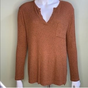 LUSH ribbed long sleeve top rust cotton